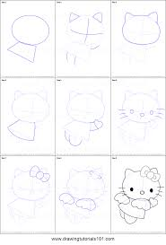 draw kitty angel printable step step drawing sheet