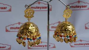punjabi jhumka earrings gold plated big size jhumka set traditional punjabi j0396