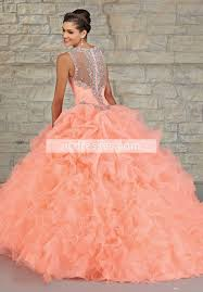 2016 luxury beading sheer back quinceanera dress princess ball