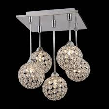 Crystal Sphere Chandelier Gracefully 5 Light Crystal Globe Shades And Stainless Steel Canopy