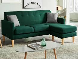 canap d angle vert canapé d angle scandinave en tissu vert auma