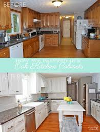 Kitchen Design Oak Cabinets by How We Painted Our Oak Cabinets And Hid The Grain Painted Oak