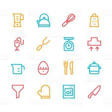 kitchen utensils icons line set 1 color series stock vector art