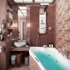 fancy bathroom interior with white tub surround at brown marble