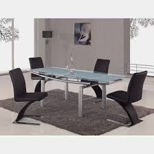 stainless steel base modern dining tables with black dining chairs