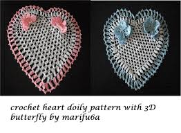 how to crochet heart doily with 3d butterfly free pattern tutorial