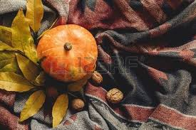 happy or thanksgiving flat lay autumn pumpkin with