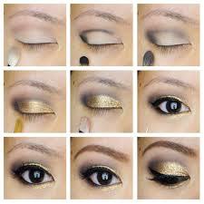 tutorial with black eye liner golden glitter eye makeup tutorials for black eyes