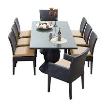 tk classics napa 9 piece wicker dining set with cushions modern tk classics napa 9 piece wicker dining set wheat