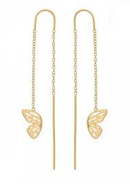 drop earrings gold burton butterfly wing chain drop earrings gold