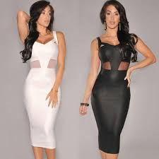 women dress mesh cutout v neckline sleeveless bandage dress