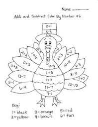 coloring pages turkey u0026 subtract color number