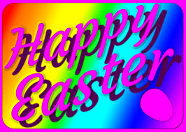 pink happy easter on rainbow palette free wallpaper