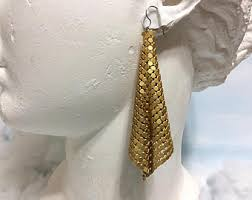 70 s earrings gold 1970s metal mesh earrings 70s disco earrings 70s gold