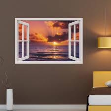 stickers trompe oeil mural sticker muraux trompe l u0027oeil sticker mural coucher de soleil à