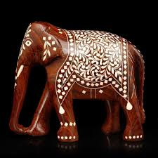 collectible india lucky elephant idol wooden painted sculpture