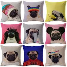 Chair Cushion Cover Funny Lovely Pugs Cushion Covers Pug Dog In Costume Art Cushion