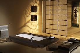 japanese themed house wall lighting beside black leather sofa