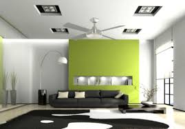 green interior design with cool decoration and great lighting