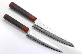 Damascus Kitchen Knives Yoshihiro 46 Layers Hammered Damascus Nsw Gyuto Petty Chefs Knife