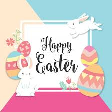 happy easter cards happy easter card with bunny and eggs vector free