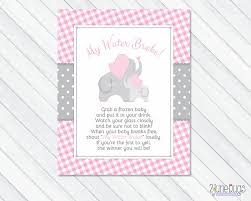 my water baby shower pink elephant my water baby shower sign pink and gray