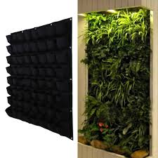 64 pocket garden pots vertical garden hanging green wall planters