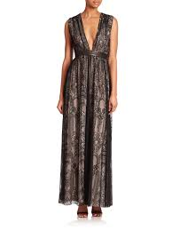 Leather And Lace Clothing Alice Olivia Sybil Leather Trim Lace Gown In Black Lyst