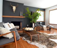 brick fireplace mantel living room contemporary with animal skull