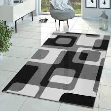 Wohnzimmer Retro Wohnzimmer Teppich Modern Grau Schwarz Weiß Retro Muster Kurzflor