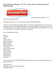 allis chalmers models 170 175 tractor service repair manual