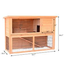 Advantek Stilt House Rabbit Hutch Amazon Com Pawhut 4 Door Small Wooden Animal House With Ramp 54