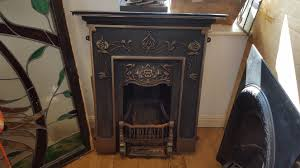 decorative cast iron fireplace with gold design watling reclamation