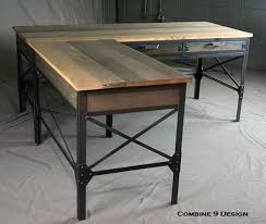 rustic l shaped desk vintage industrial l shaped desk steel and reclaimed wood throughout