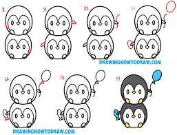 how to draw cute kawaii penguins stacked from 8 with easy step by