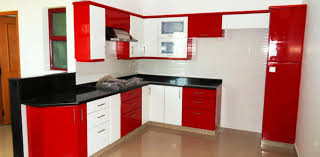 agreeable modular kitchen with straight shape features red white