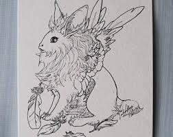 rabbit drawing etsy