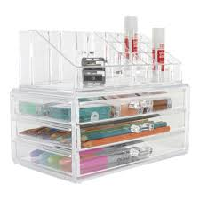 Clear Desk Organizer Clear 3 Drawer Makeup Chest With Top Organizer Storables