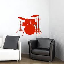 buy drum set decal drum set sticker drums decor drums rock music