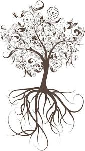tree with roots wall decal and tatting