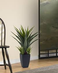 floor plant amazon com nearly natural 4856 agave plant with black planter
