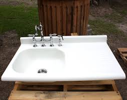 Kitchen Sink With Drainboard Image  Site About Sinks - White enamel kitchen sinks