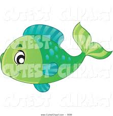 cartoon vector clip art of a cute happy green fish by visekart 3056