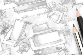 living room freehand sketch architectural drawing with pencils