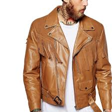 buy biker jacket suede fringe detailing motorcycle jacket for men