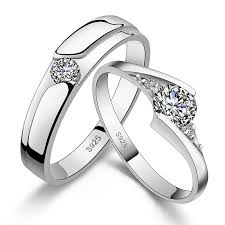 his hers matching cz sterling silver rings wedding band