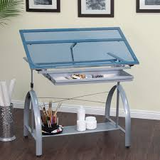 Drafting Table Glass Studio Designs Avanta Drafting Table In Silver With Blue Glass