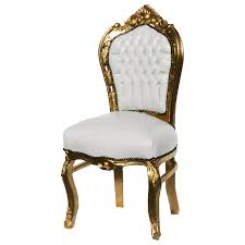 Gold Dining Room Chairs 6 Chairs Made Of White Leatherette And Gold Wood Dining Room