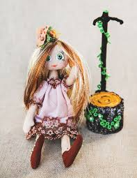 textile doll on stand decorative home interior toys children toys