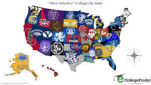 map us colleges total frat move u s map shows the most selective colleges by state